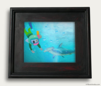 Aqua Koalas Classic Painting 10-by-14 Black Gallery Frame 1