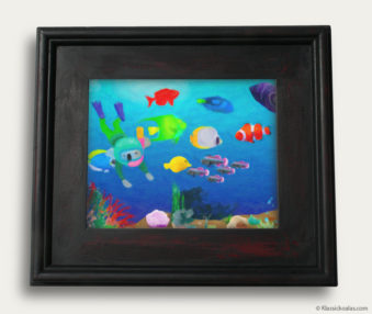 Aqua Koalas Classic Painting 10-by-14 Black Gallery Frame 14