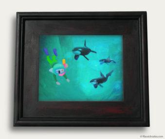 Aqua Koalas Classic Painting 10-by-14 Black Gallery Frame 15