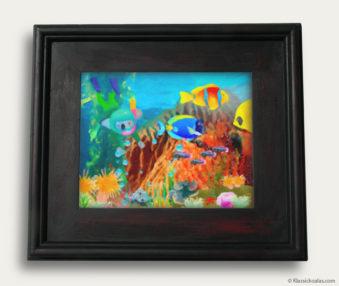 Aqua Koalas Classic Painting 10-by-14 Black Gallery Frame 16