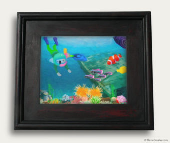 Aqua Koalas Classic Painting 10-by-14 Black Gallery Frame 17