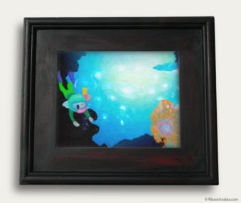 Aqua Koalas Classic Painting 10-by-14 Black Gallery Frame 18