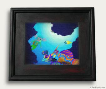 Aqua Koalas Classic Painting 10-by-14 Black Gallery Frame 2