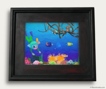 Aqua Koalas Classic Painting 10-by-14 Black Gallery Frame 21