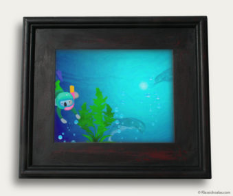 Aqua Koalas Classic Painting 10-by-14 Black Gallery Frame 22