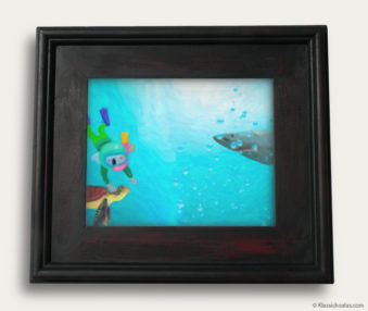 Aqua Koalas Classic Painting 10-by-14 Black Gallery Frame 23
