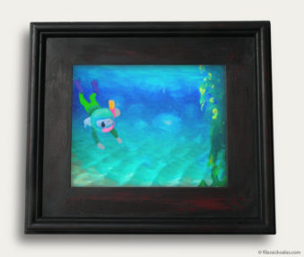 Aqua Koalas Classic Painting 10-by-14 Black Gallery Frame 24