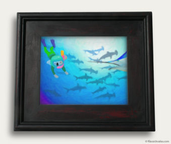 Aqua Koalas Classic Painting 10-by-14 Black Gallery Frame 25