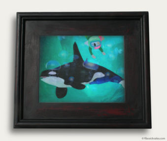 Aqua Koalas Classic Painting 10-by-14 Black Gallery Frame 26