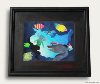 Aqua Koalas Classic Painting 10-by-14 Black Gallery Frame 28