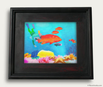 Aqua Koalas Classic Painting 10-by-14 Black Gallery Frame 29