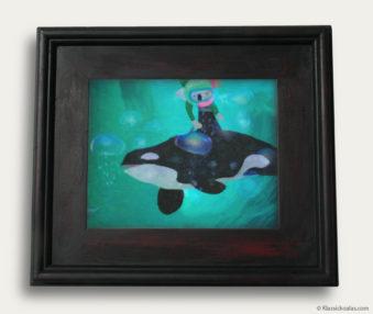 Aqua Koalas Classic Painting 10-by-14 Black Gallery Frame 3