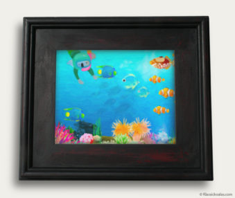 Aqua Koalas Classic Painting 10-by-14 Black Gallery Frame 30