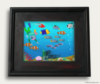 Aqua Koalas Classic Painting 10-by-14 Black Gallery Frame 33