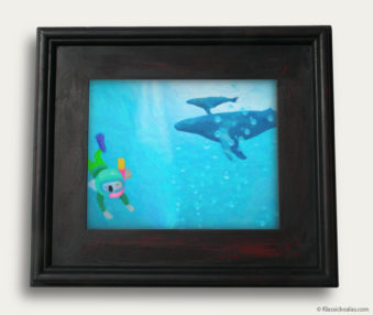 Aqua Koalas Classic Painting 10-by-14 Black Gallery Frame 34