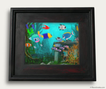 Aqua Koalas Classic Painting 10-by-14 Black Gallery Frame 354