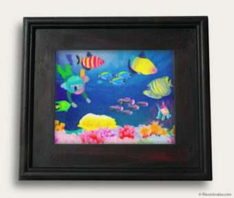 Aqua Koalas Classic Painting 10-by-14 Black Gallery Frame 36