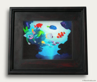 Aqua Koalas Classic Painting 10-by-14 Black Gallery Frame 37