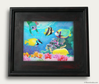 Aqua Koalas Classic Painting 10-by-14 Black Gallery Frame 39