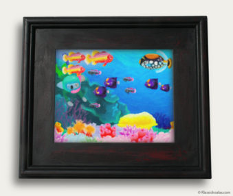 Aqua Koalas Classic Painting 10-by-14 Black Gallery Frame 40
