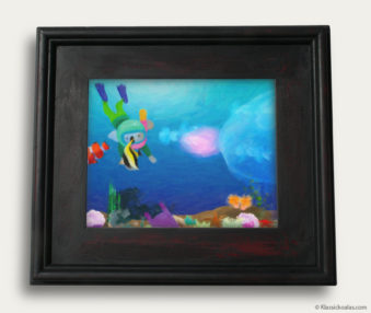 Aqua Koalas Classic Painting 10-by-14 Black Gallery Frame 5