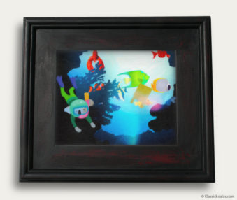 Aqua Koalas Classic Painting 10-by-14 Black Gallery Frame 7
