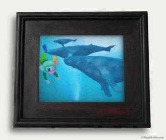 Aqua Koalas Classic Painting 10-by-14 Black Gallery Frame 8