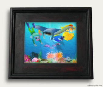 Aqua Koalas Classic Painting 10-by-14 Black Gallery Frame 9