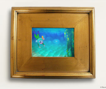 Aqua Koalas Watercolor Painting 8x10 Inches Gold Frame 24