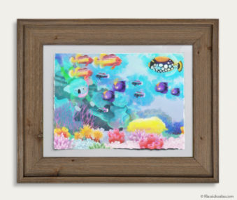 Aqua Koalas Watercolor Pastel Painting 10-by-14 Inch Barnwood Frame 1