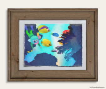 Aqua Koalas Watercolor Pastel Painting 10-by-14 Inch Barnwood Frame 11
