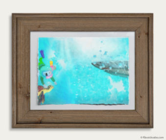 Aqua Koalas Watercolor Pastel Painting 10-by-14 Inch Barnwood Frame 12