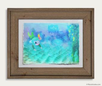 Aqua Koalas Watercolor Pastel Painting 10-by-14 Inch Barnwood Frame 13