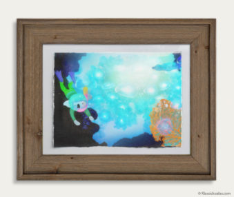 Aqua Koalas Watercolor Pastel Painting 10-by-14 Inch Barnwood Frame 16