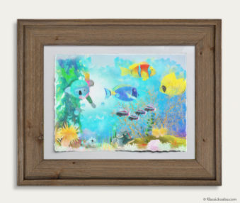 Aqua Koalas Watercolor Pastel Painting 10-by-14 Inch Barnwood Frame 19