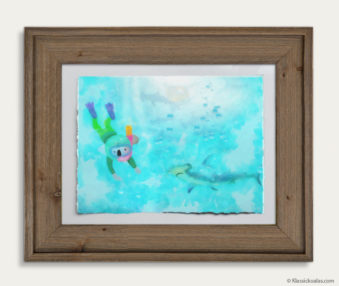 Aqua Koalas Watercolor Pastel Painting 10-by-14 Inch Barnwood Frame 2