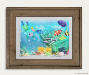 Aqua Koalas Watercolor Pastel Painting 10-by-14 Inch Barnwood Frame 20