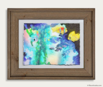 Aqua Koalas Watercolor Pastel Painting 10-by-14 Inch Barnwood Frame 5