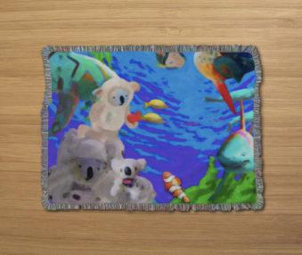Dream Koalas Fringe Blanket 80 by 60 Inches 3