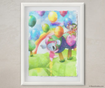 Happy Koalas Watercolor Pastel Painting 12-by-16 Inches White Frame 1
