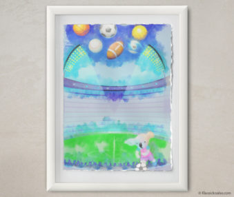 Happy Koalas Watercolor Pastel Painting 12-by-16 Inches White Frame 12