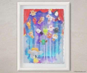 Happy Koalas Watercolor Pastel Painting 12-by-16 Inches White Frame 14