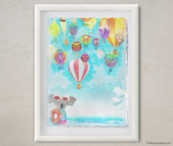 Happy Koalas Watercolor Pastel Painting 12-by-16 Inches White Frame 17