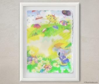 Happy Koalas Watercolor Pastel Painting 12-by-16 Inches White Frame 19