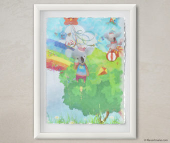 Happy Koalas Watercolor Pastel Painting 12-by-16 Inches White Frame 2