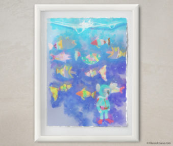Happy Koalas Watercolor Pastel Painting 12-by-16 Inches White Frame 20