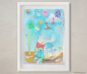 Happy Koalas Watercolor Pastel Painting 12-by-16 Inches White Frame 21