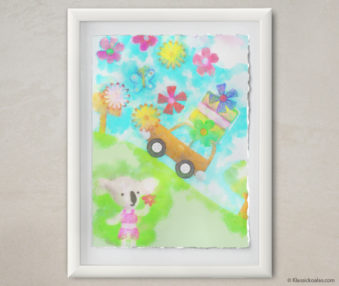 Happy Koalas Watercolor Pastel Painting 12-by-16 Inches White Frame 25