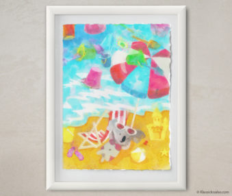 Happy Koalas Watercolor Pastel Painting 12-by-16 Inches White Frame 26