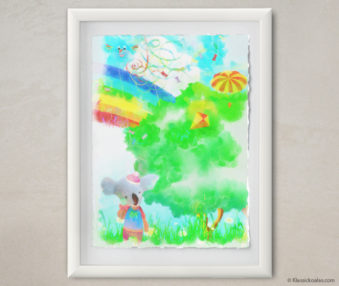 Happy Koalas Watercolor Pastel Painting 12-by-16 Inches White Frame 29